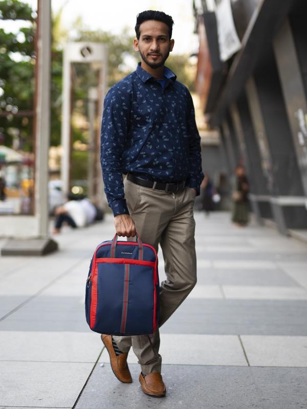 Converto Laptop Bag Navy Red