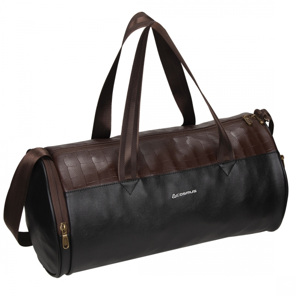 Cosmus Athens Black Leatherite Gym bag With Shoe Compartment