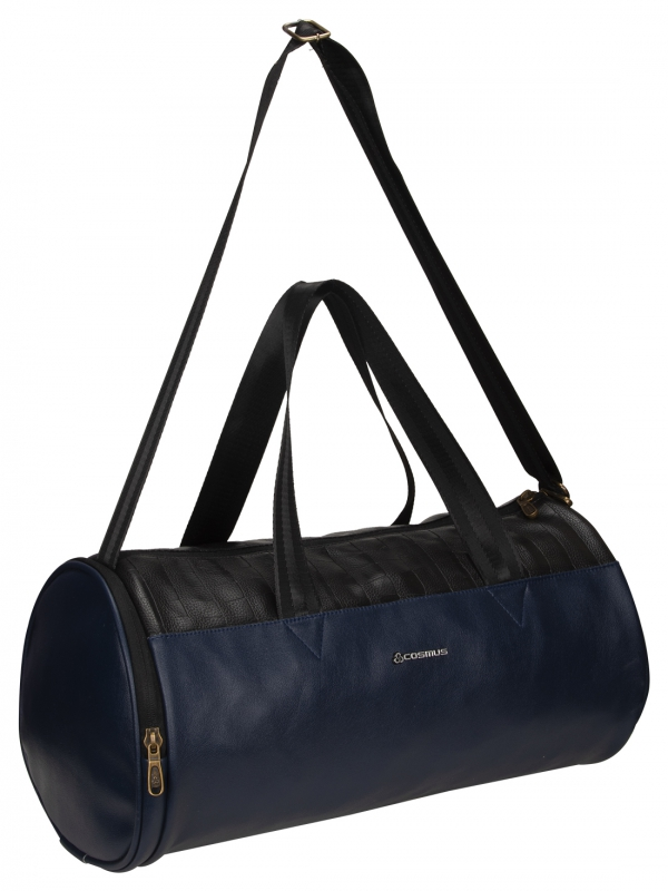 Cosmus Athens Navy Blue Leatherite Gym bag With Shoe Compartment