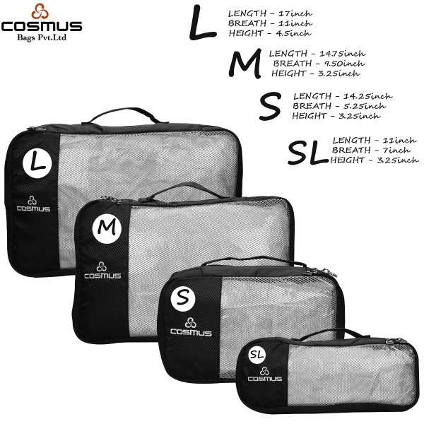 Packing Cubes Travel Pouch Polyester Black Bag Organiser Set of 4
