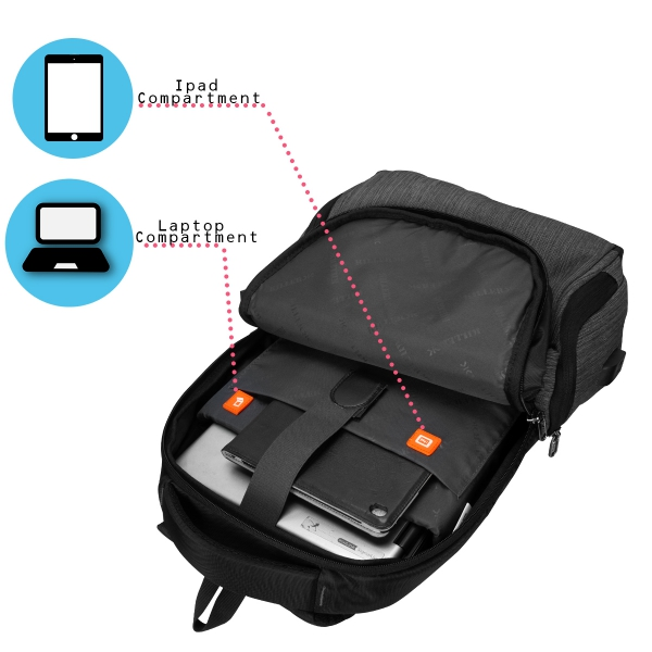 Killer Concorde 23 Ltr Water Resistance Polyester Trendy Grey Laptop Backpack For 14 inch Laptop