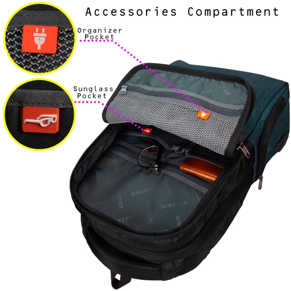 Killer Concorde 23 Ltr Water Resistance Polyester Trendy  T Green Laptop Backpack For 14 inch Laptop