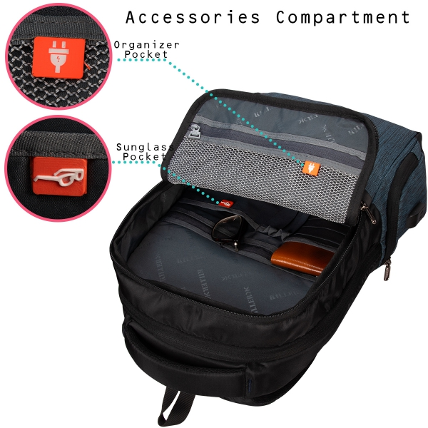 Killer Concorde 23 Ltr Water Resistance Polyester Trendy P Blue Laptop Backpack For 14 inch Laptop