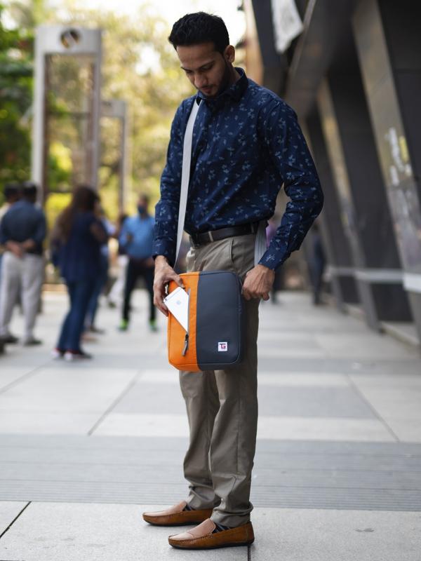 Bunco Sling Bag Grey Orange