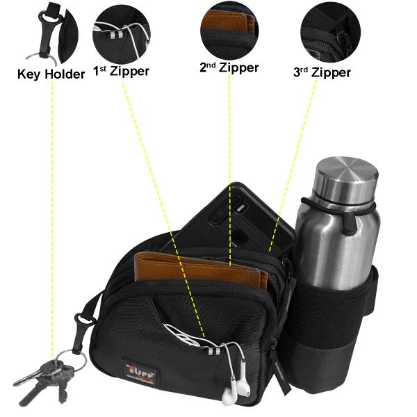 TUFFGEAR Venter Black Hiking Waist Pouch