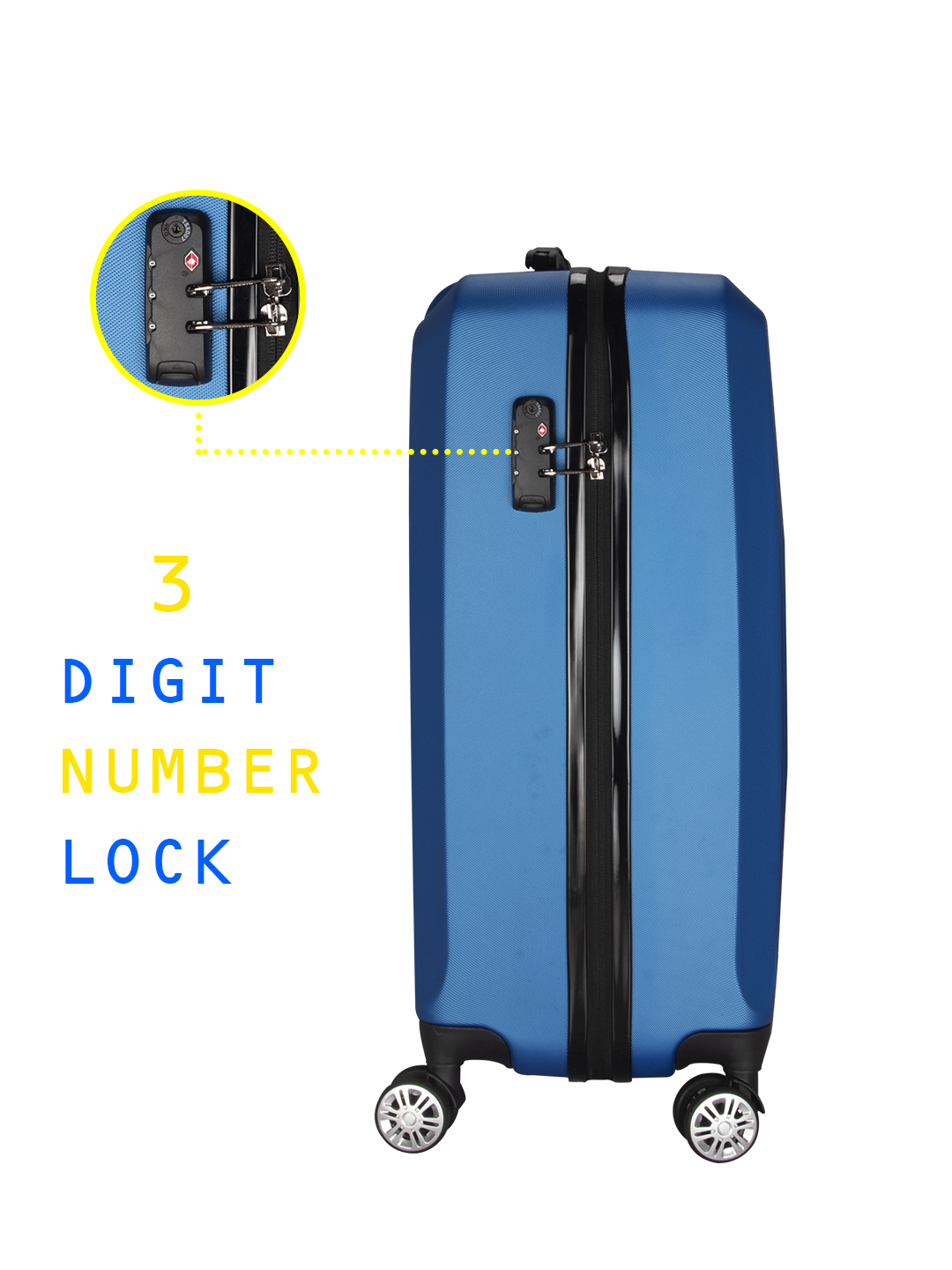 Hilton Polycarbonate (20 inches) Royal Blue Trolley Suitcase