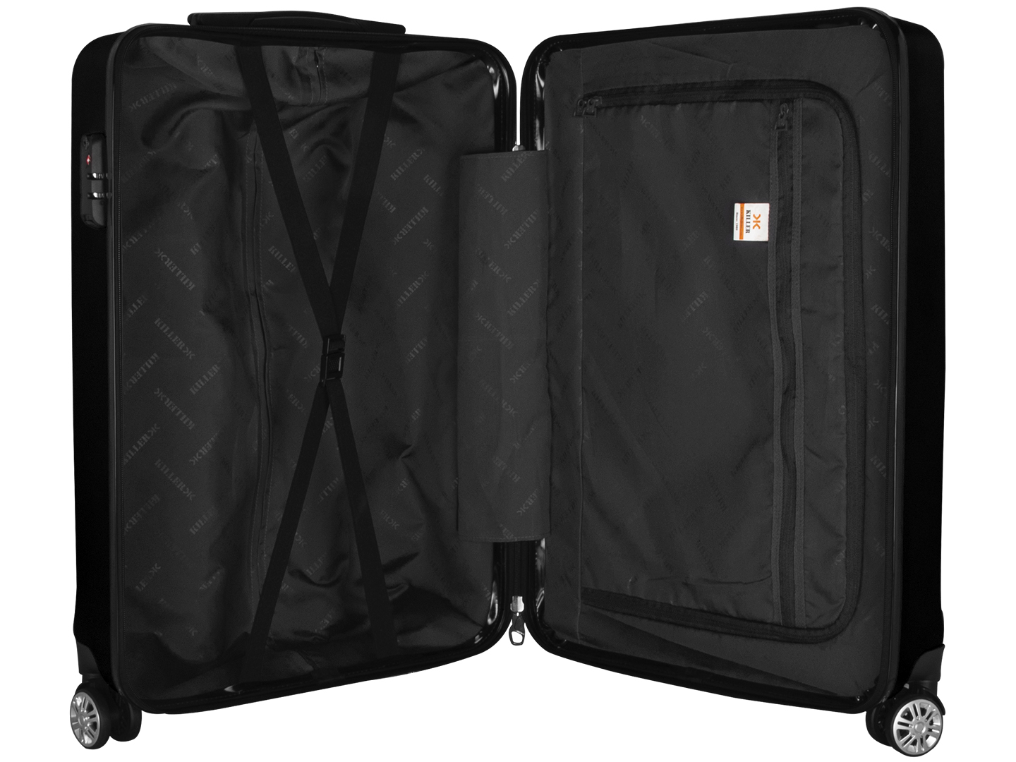 Hilton Polycarbonate (24 inches) Black Trolley Suitcase