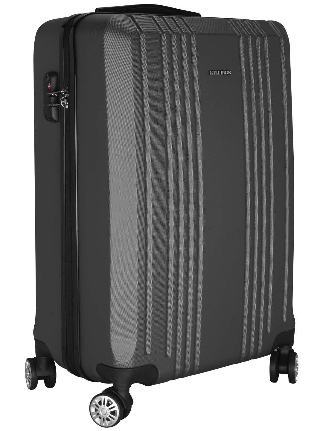 Hilton Polycarbonate (24 inches) Grey Trolley Suitcase