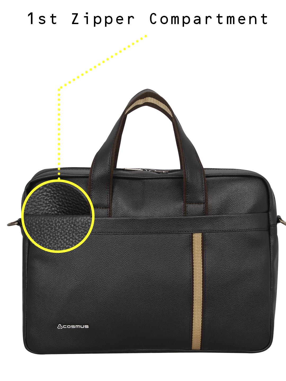 Chancellor Black PU leather Laptop Bag