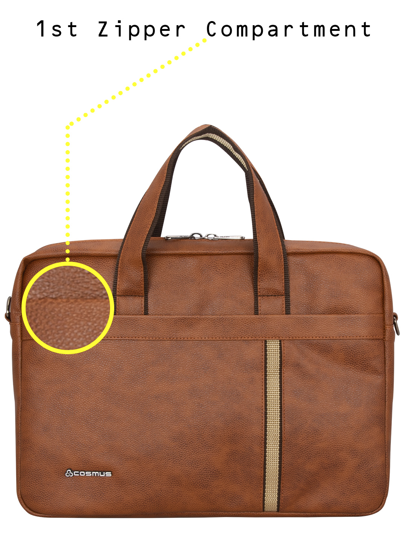 Chancellor Tan PU leather Laptop Bag